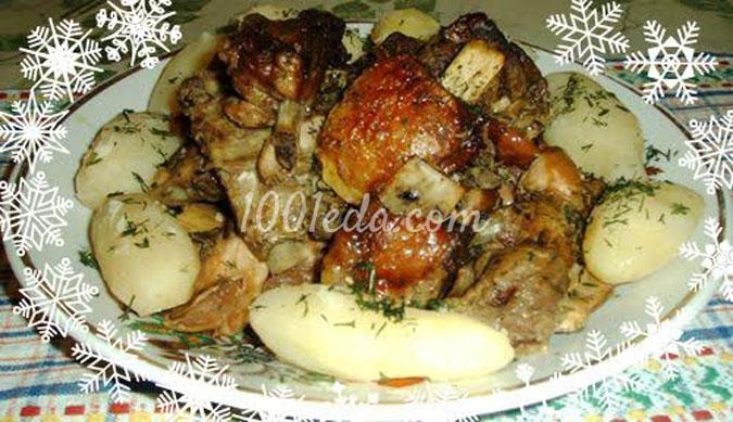 Рёбрышки свиные в грушево-яблочном соусе в рукаве с гарниром из отварного картофеля