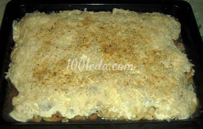 Свиная вырезка запеченная с луком и картофелем под сырной шубкой