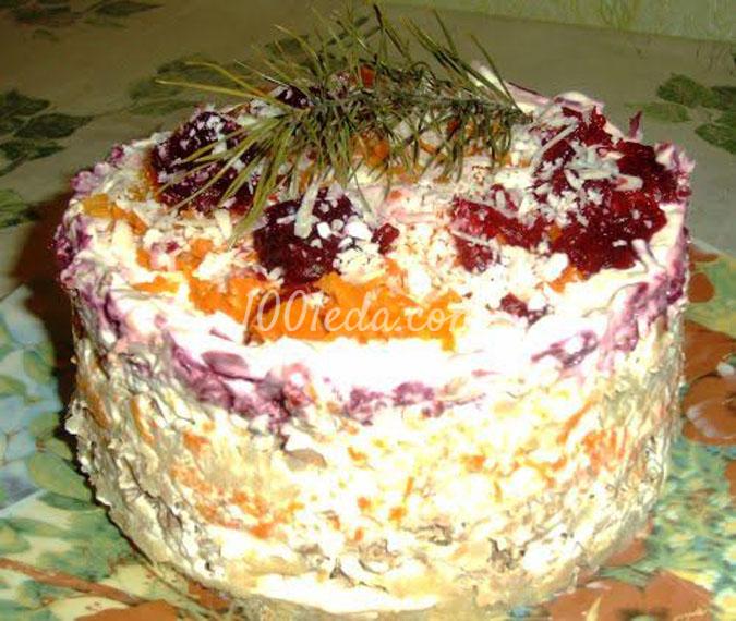 Слоеный салат-торт Новогодний каприз