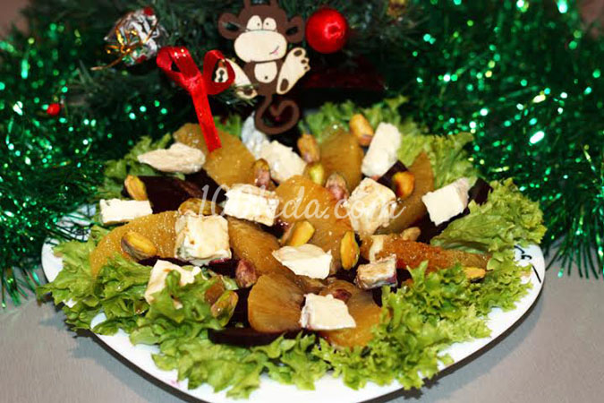 Салат со свеклой, апельсином и фисташками: рецепт с пошаговым фото
