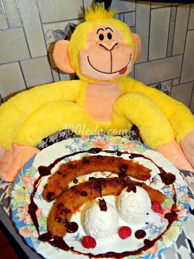 Десерт для обезьянки: Жарный банан в апельсиновой карамели с творожным парфе: рецепт с пошаговым фото