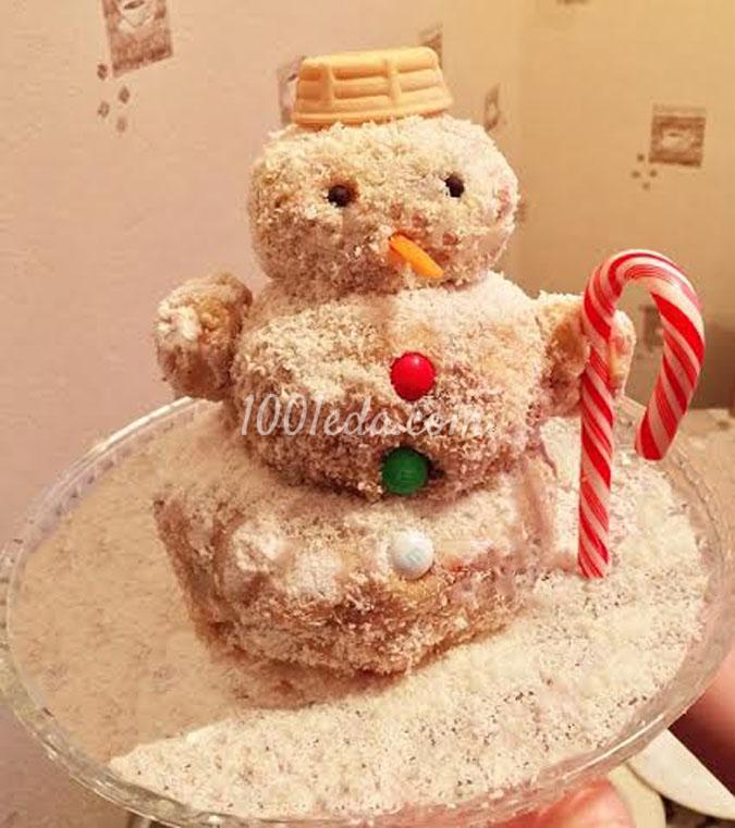 Торт без выпечки Снеговик