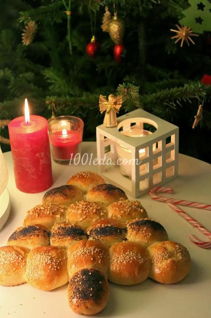 Дрожжевые булочки Рождественское дерево: рецепт с пошаговым фото