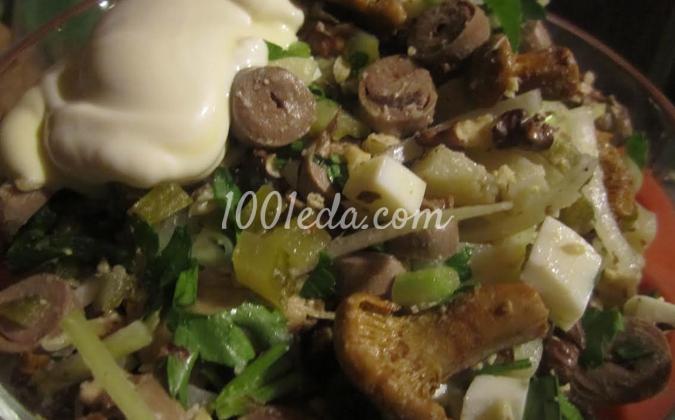 Салат из куриных сердечек с орехами