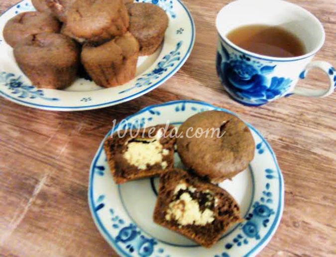 Шоколадные кексы с творожным центром: рецепт с пошаговым фото