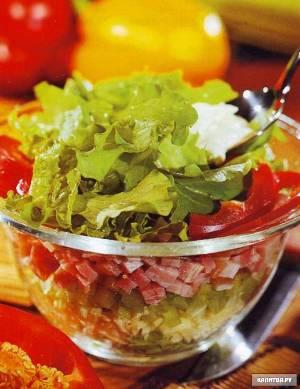 рецепт быстрого салата из ветчины