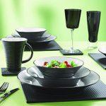 Фото сервировки стола к обеду: черная посуда