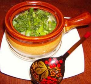 Суп овощной в горшочке