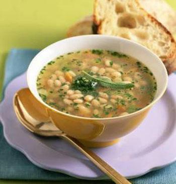 рецепт постного супа с фасолью и орехами