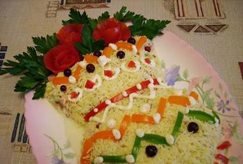 салат Ваза с цветами