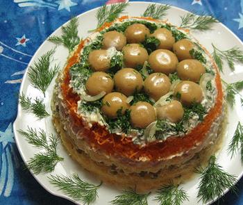 салат с грибами для детей