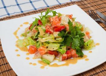 салат с копчен рыбой без майонеза рецепты с фото