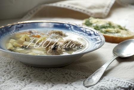 Рецепт супа с куриными шариками и зелеными тостами
