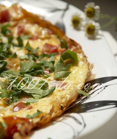 Яичница с помидорами и колбасой с пошагово в