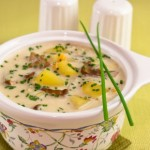 Суп с плавленым сыром и белыми грибами