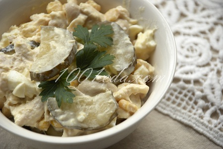 Рецепт салата с кукурузой и сухариками фото пошагово
