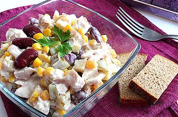 рецепт салата с кукурузой и фасолью