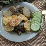 Картофель, запеченный с грибами и мясом: рецепт с пошаговым фото