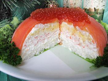 """Рецепт салата с семгой """"Морской"""""""