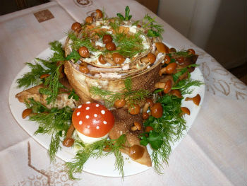 Салат пенек с опятами рецепт пошагово 41