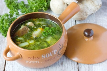 Рецепт супа со шпинатом и грибами