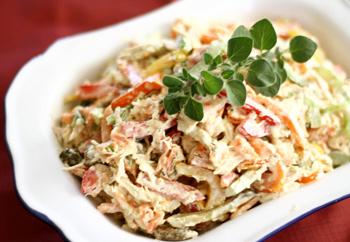 Пасхальный салат с курицей, индейкой и орехами