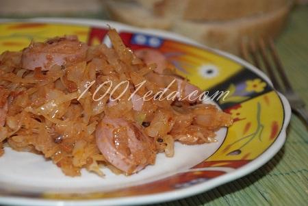 тушеная капуста с сосисками рецепт пошагово с фото