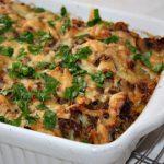Запеканка картофельная с грибами и куриным фаршем