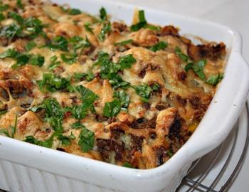 запеканка из картофеля, грибов и фарша