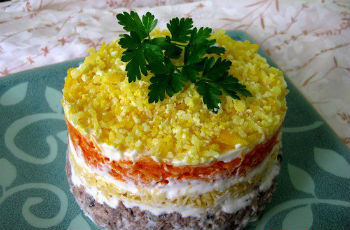 Как готовить солат мимоза