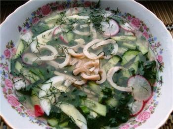 рецепт окрошки с кальмарами