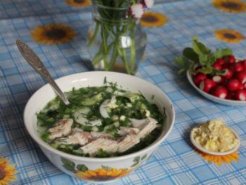 Рецепт рыбной окрошки на квасе с рыбой