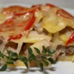 Мясо по-французски со свинины с помидорами и грибами