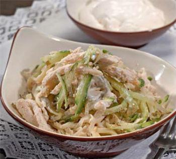 рецепт салата с курицей свежими огурцами