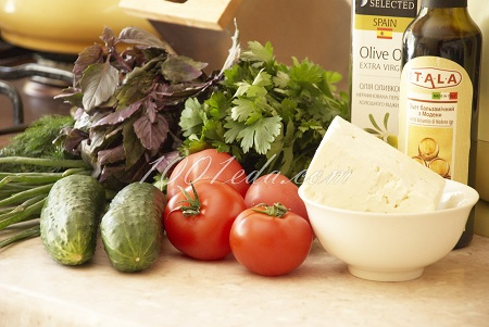 рецепт салата с брынзой пошагово с фото
