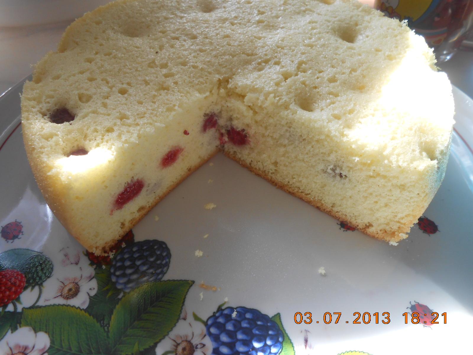 Бисквитный торт с малиной пошаговое