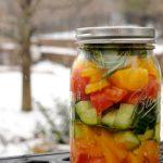 Желейный салат на зиму из огурцов, помидоров и перцев