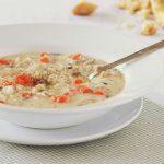 Сливочный суп-пюре с курятиной и диким рисом