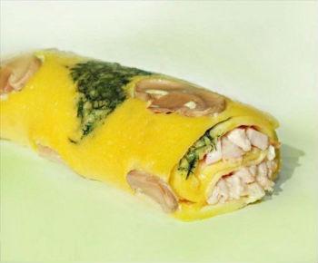 Закуска курица в грибном омлете