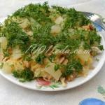 Салат «Нежность» с курицей, ананасом, сыром и грецким орехом
