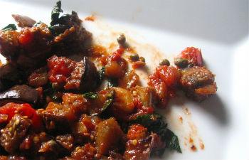 баклажаны жареные с чесноком и помидорами фото