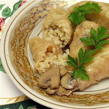 Как приготовить голубцы без мяса с грибами и рисом