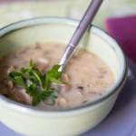 Грибной суп из шампиньонов с фасолью