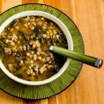 Грибной суп из шампиньонов и перловки