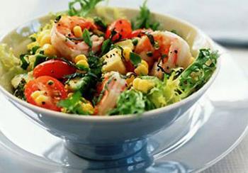 салат с креветками рецепт и ветчиной и