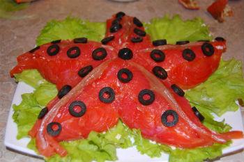 Салат звезда с красной рыбой