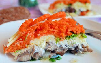 рецепт салата сельдь под шубой с грибами