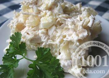 Фото с рецептами салатов с ананасами 85