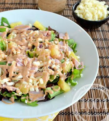 Рецепт салата с ветчиной