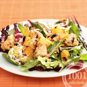 Рецепт салата с ананасом, морковью и курицей